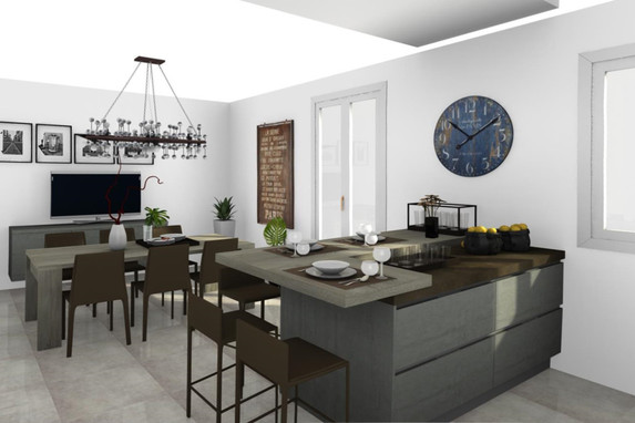 Vista prospettica parziale di cucina con isola completa di piano snack rialzato e zona pranzo - Progetti cucine con isola ...
